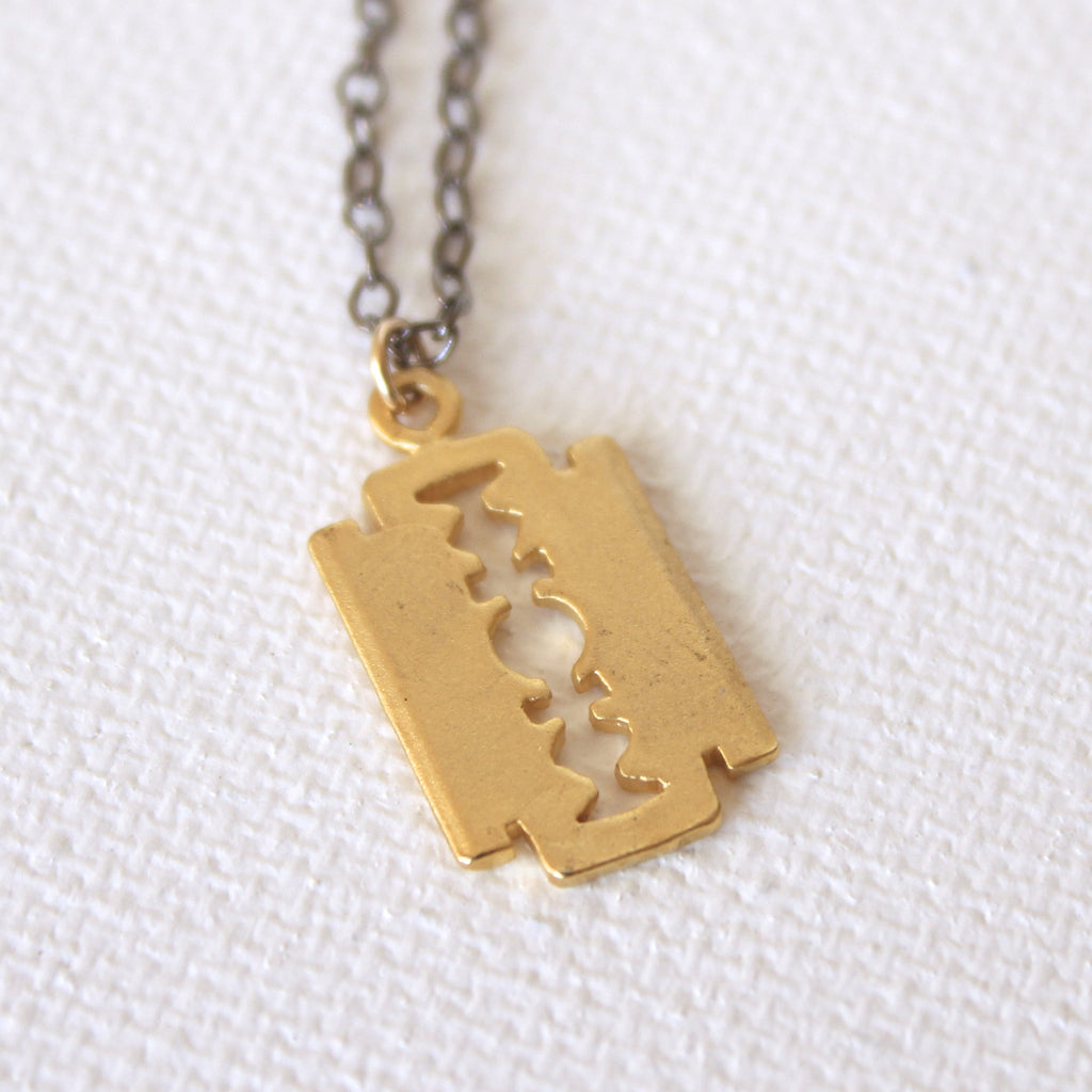 Edge of Glory Necklace - 18k Gold Razor Pendant Charm Necklace