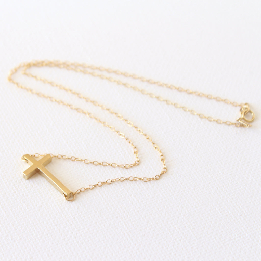 3D Agape Necklace - 18k Gold Horizontal Cross Pendant Charm Necklace