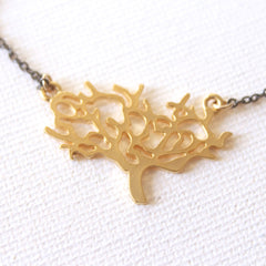 The Giving Tree Necklace - 18k Gold Pendant Charm and Gunmetal Chain Necklace