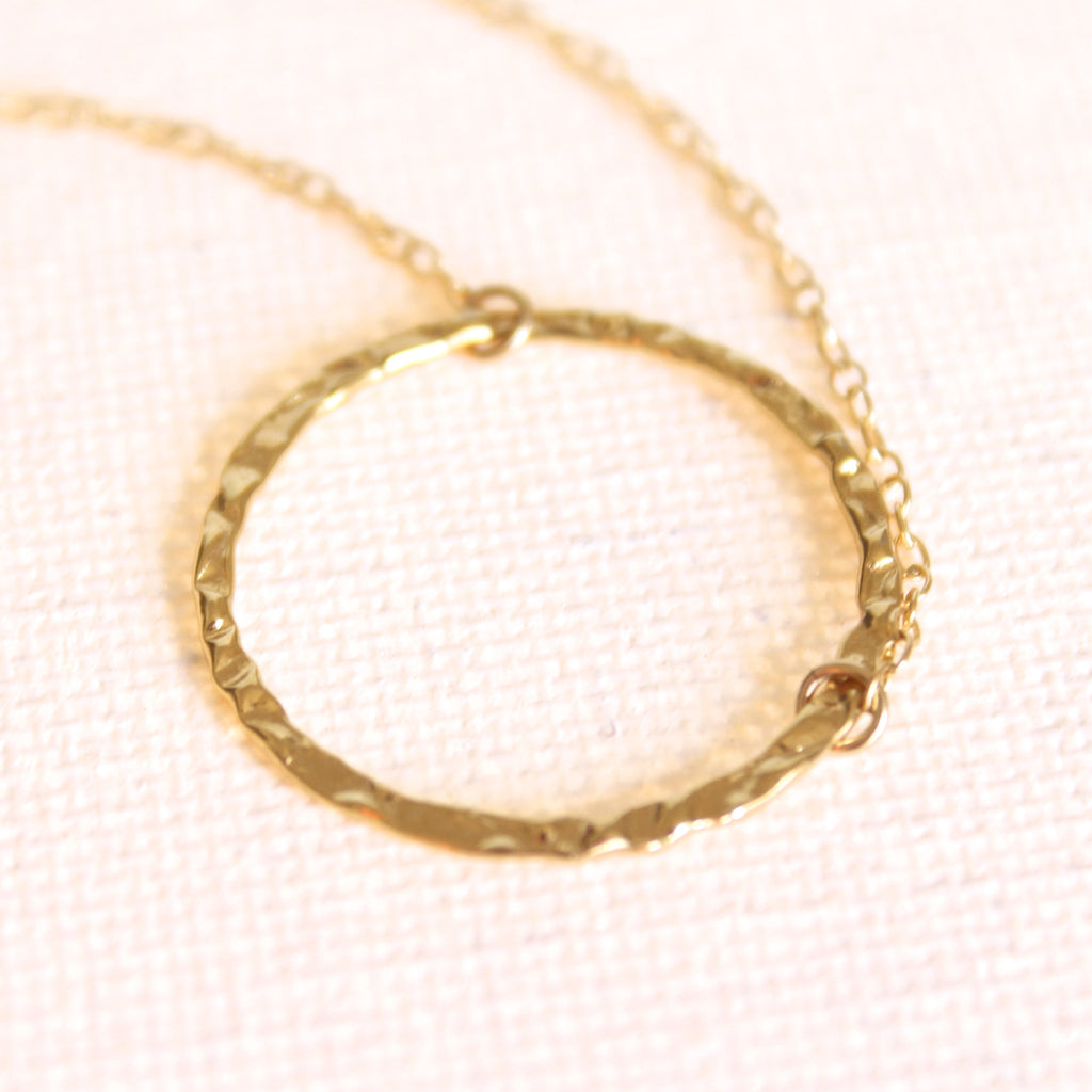 Tousled Ring Necklace - 18k Gold Pendant Charm Necklace