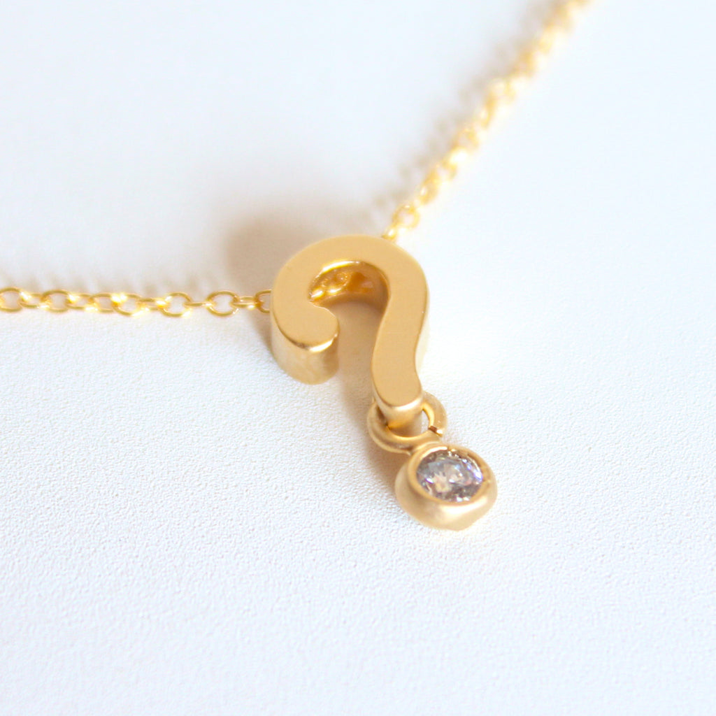 3D Question Mark Necklace - 18k Gold and Crystal Question Mark Charm Necklace
