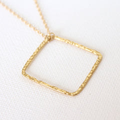 Tousled Square Necklace - 18k Gold Pendant Charm Necklace