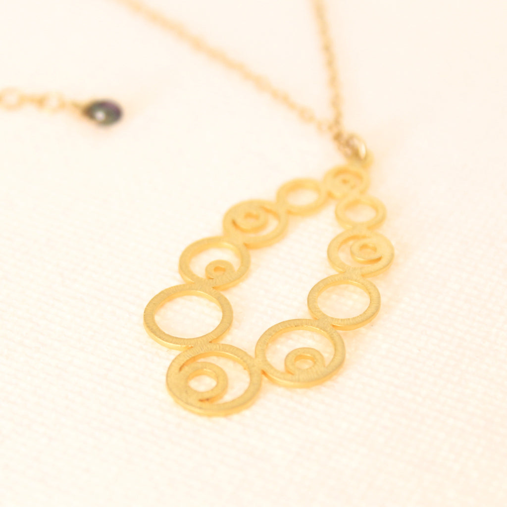 Bubble Wrapped Necklace - 18k Gold Pendant Charm Necklace with Japanese Freshwater Keshi Accent Pearl