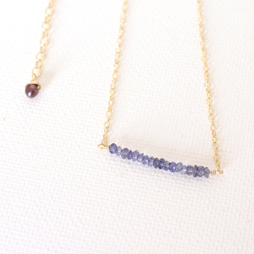 Bar Necklace - Blue Iolite Gemstones and 18k Gold Necklace with Japanese Freshwater Keshi Pearl
