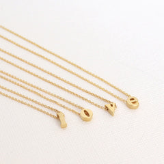 3D Lower Case Initial Necklace - 18k Gold Initial Charm Necklace