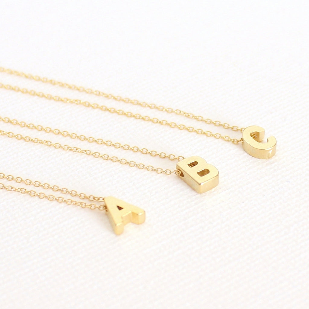3D Upper Case Initial Necklace - 18k Gold Initial Charm Necklace