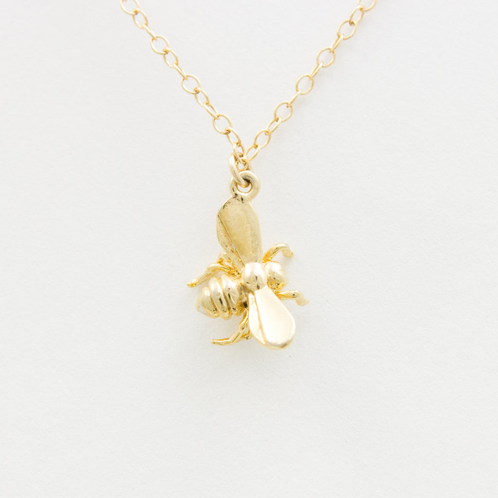 3D Honey Bee Necklace - 18k Gold Bumble Bee Charm Necklace