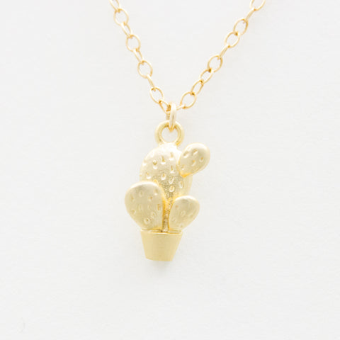 3D Cactus Necklace - 18k Gold Cactus Charm Necklace