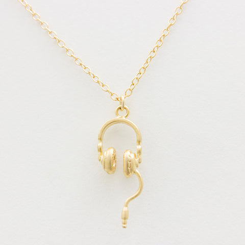 3D Headphones Necklace - 18k Gold Headphones Charm Necklace