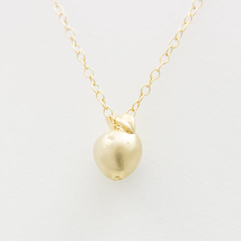 3D Apple Necklace - 18k Gold Apple Charm Necklace