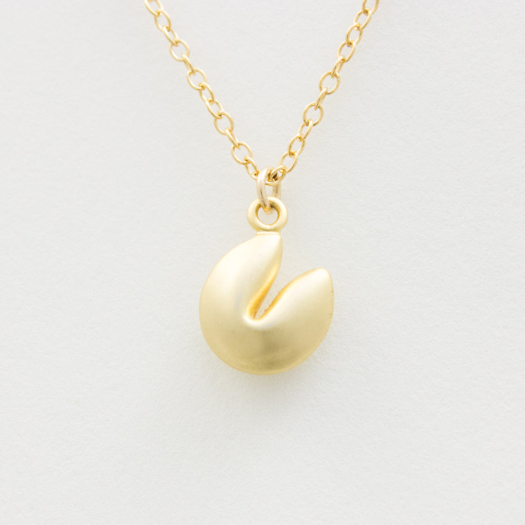 3D Fortune Cookie Necklace - 18k Gold Fortune Cookie Charm Necklace