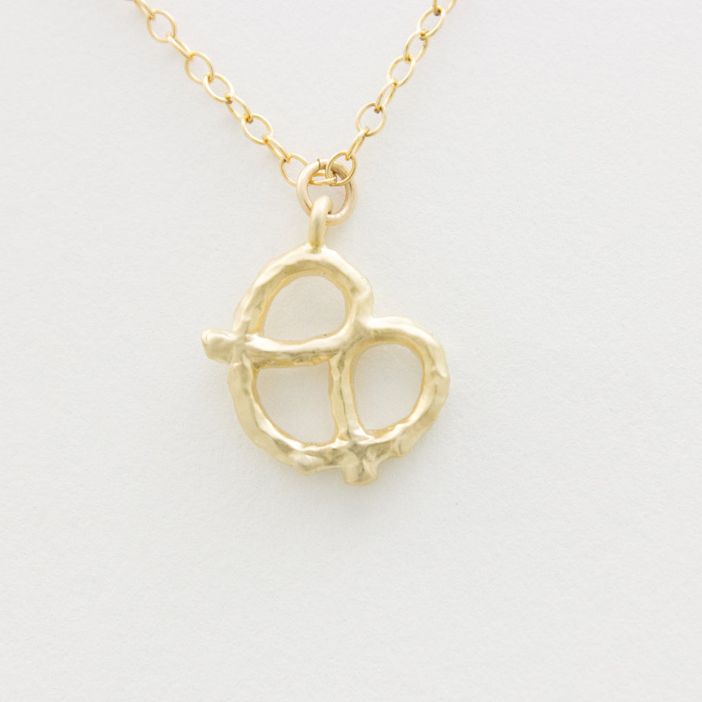 3D Pretzel Necklace - 18k Gold Pretzel Charm Necklace