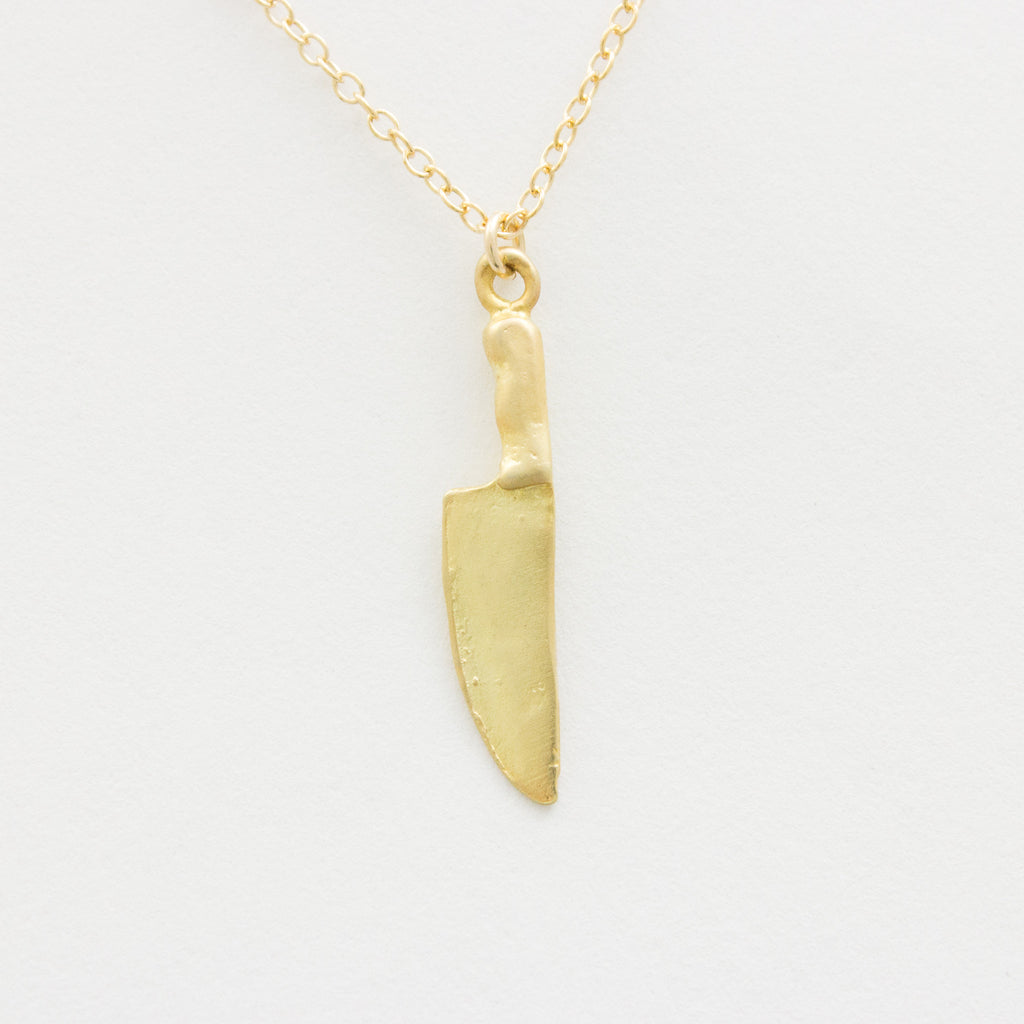 3D Chef's Knife Necklace - 18k Gold Knife Charm Necklace