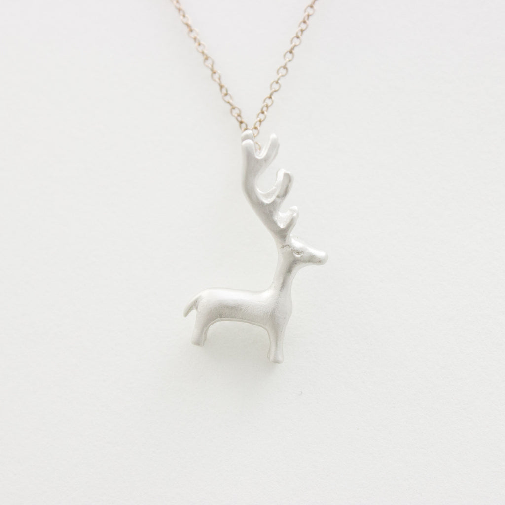 3D Reindeer Necklace - 18k Gold Deer Charm Necklace