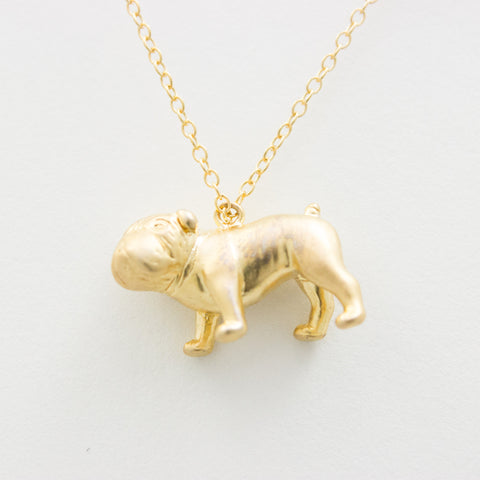 3D Bulldog Necklace - 18k Gold Bulldog Charm Necklace