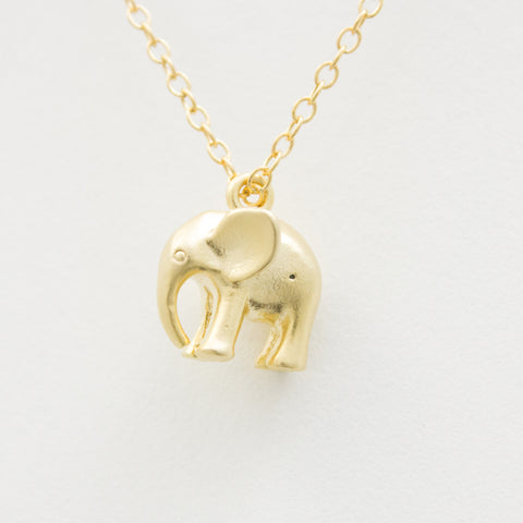 3D Elephant Necklace - 18k Gold Elephant Charm Necklace