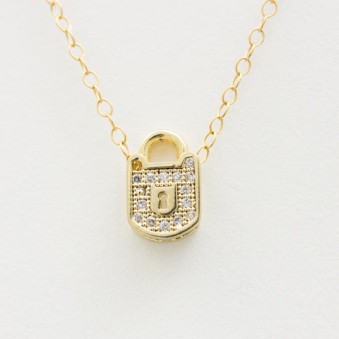 3D Crystal Lock Necklace - 18k Gold and Crystal Lock Charm Necklace