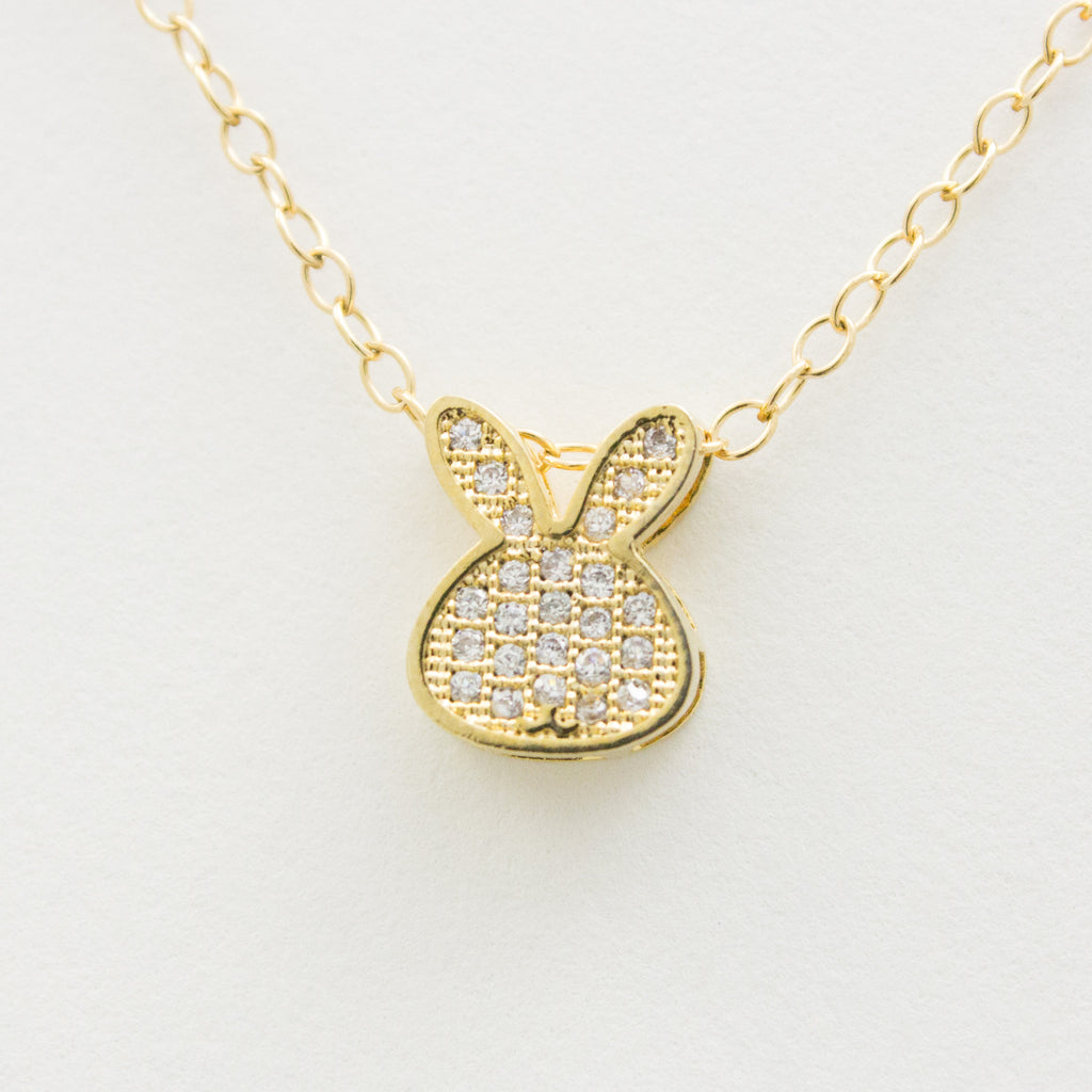 3D Crystal Bunny Necklace - 18k Gold and Crystal Bunny Charm Necklace