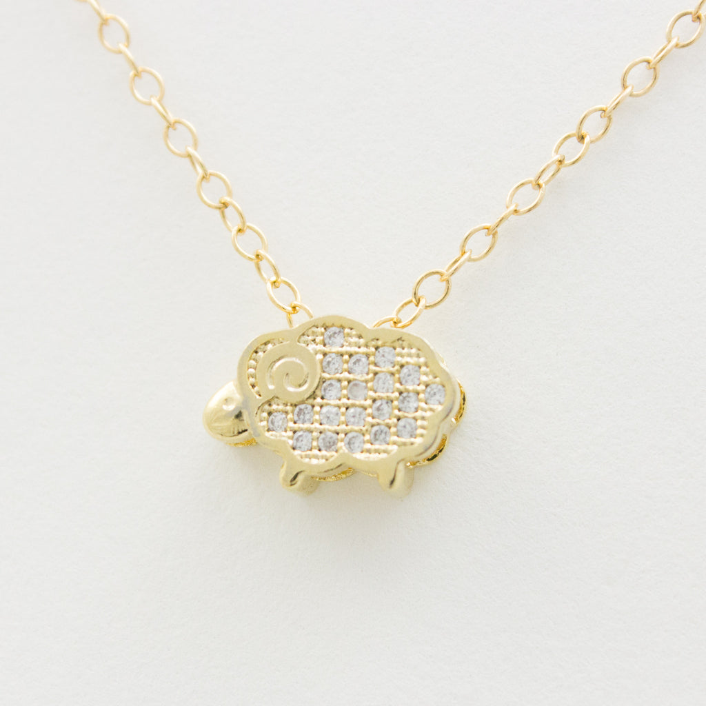 3D Crystal Little Lamb Necklace - 18k Gold and Crystal Sheep Charm Necklace