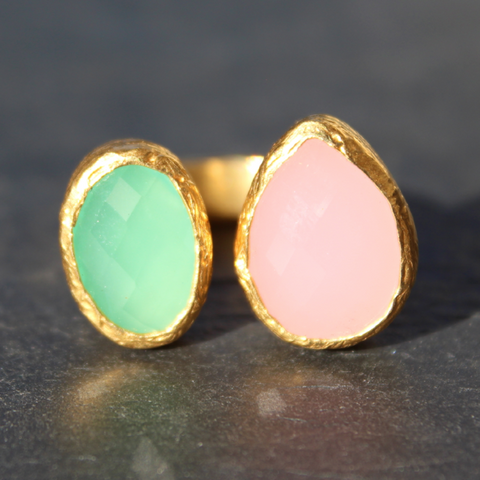 Egypt Ring - 24k Gold Dipped Double Gemstone Floating Ring