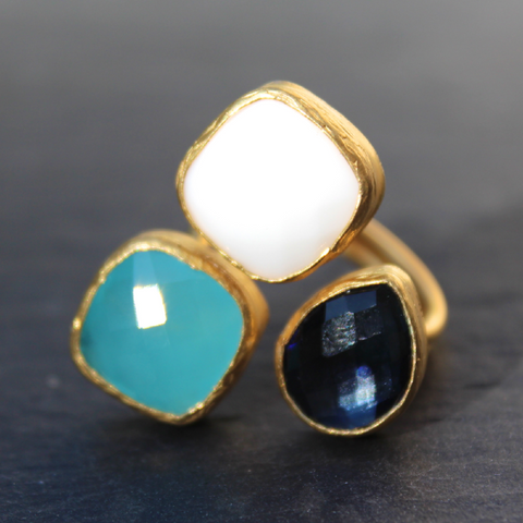 Egypt. 24k Gold Dipped Triple Gemstone Floating Ring