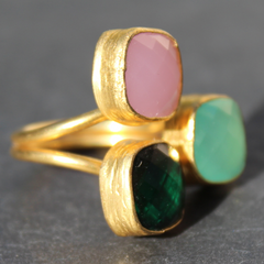 Egypt Ring - 24k Gold Dipped Triple Gemstone Floating Ring
