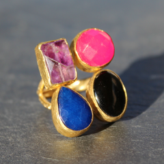 Egypt Ring - 24k Gold Dipped Quadruple Gemstone Floating Ring