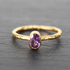 Nara Ring - 24k Gold Dipped Light Purple Amethyst Crystal Solitaire Stackable Ring