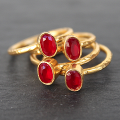 Nara Ring - 24k Gold Dipped Ruby Red Crystal Solitaire Stackable Ring