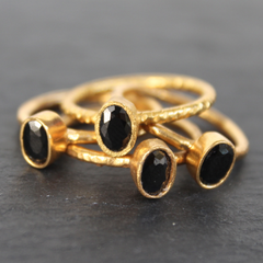 Nara Ring - 24k Gold Dipped Black Onyx Crystal Solitaire Stackable Ring