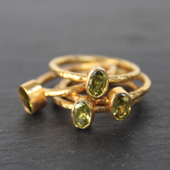 Nara Ring - 24k Gold Dipped Green Peridot Crystal Solitaire Stackable Ring