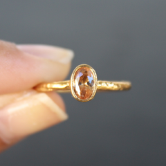 Nara Ring - 24k Gold Dipped Light Orange Topaz Crystal Solitaire Stackable Ring