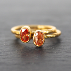 Nara Ring - 24k Gold Dipped Orange Topaz Crystal Solitaire Stackable Ring