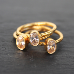 Nara Ring - 24k Gold Dipped Clear Crystal Solitaire Stackable Ring