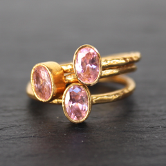Nara Ring - 24k Gold Dipped Pink Crystal Solitaire Stackable Ring