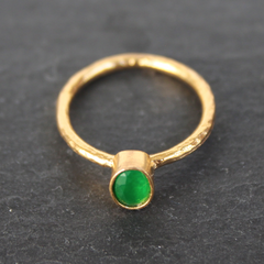 Nara Ring - 24k Gold Dipped Green Emerald Crystal Solitaire Stackable Ring