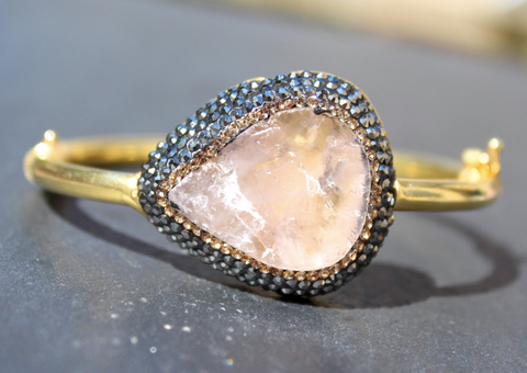 Mood Cuff - 24k Gold Pink Rose Quartz & Swarovski Crystal Cuff