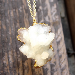Brunico Necklace - 24k Gold Dipped Milk White Crystal Necklace