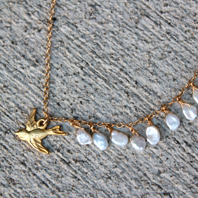 Amalfi Necklace - 18k Gold Bird Charm and Pearl Necklace.