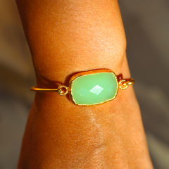 Old San Juan Bracelet - 24k Gold Dipped Green Chalcedony Cuff