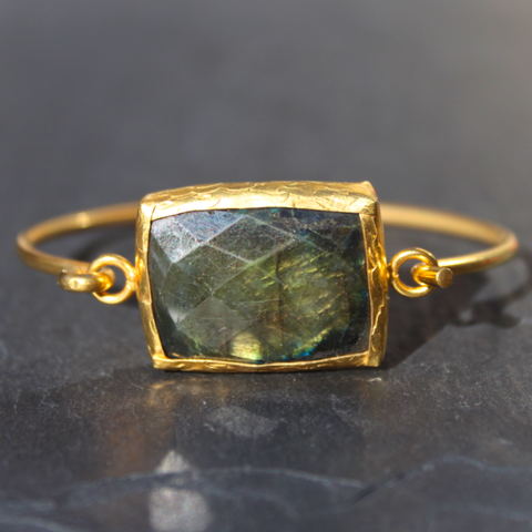 Old San Juan Bracelet - 24k Gold Dipped Iridescent Night Labradorite Crystal Cuff