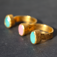 Egypt Ring - 24k Gold Dipped Triple Gemstone Floating Knuckle Ring