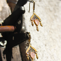 Siam Earrings - 24k Gold and Oxidized Sterling Silver Pink Rose Quartz Earrings
