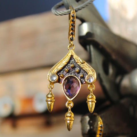 Siam Earrings - 24k Gold and Oxidized Sterling Silver Purple Amethyst Earrings