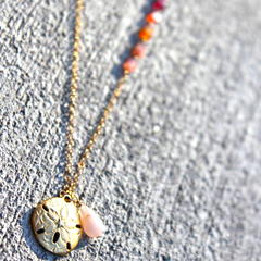 Capri Necklace - 18k Gold Sand Dollar, Rose Quartz &  Multicolored Tourmaline Cube Necklace.