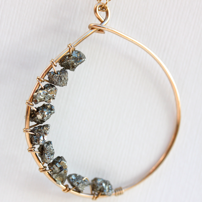 Love Stoned Necklace - 18k Handformed Gold Hoop & Raw Pyrite Necklace
