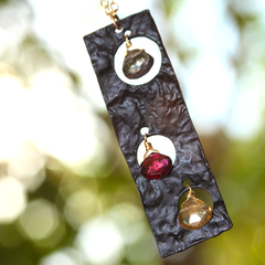 Showstopper Necklace - Black Onyx Organic Pendant, Red, Yellow & Charcoal Garnet Gemstone & 18k Gold Necklace.