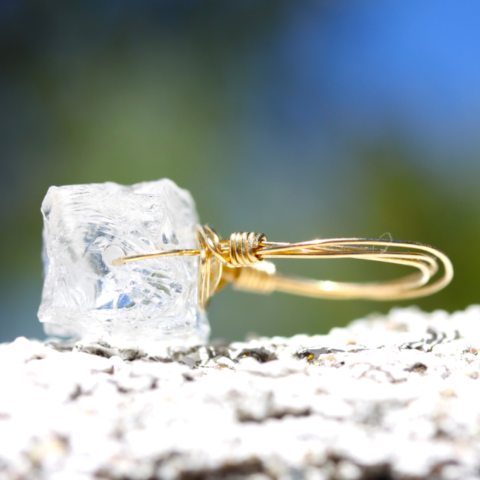 Ice Cold Ring - 18k Gold & Raw Crystal Wire Wrapped Ring