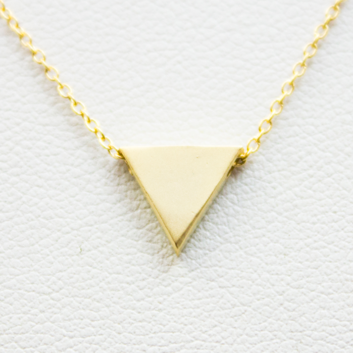 3D Triangle Necklace - 18k Gold Triangle Charm Necklace