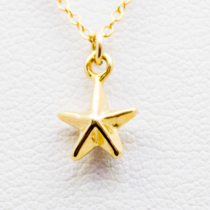 3D Tiny Star Necklace - 18k Gold Sailor Star Charm Necklace